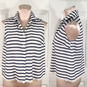 Madewell Moment Striped Sleeveless Button Top XS